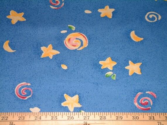 Children Fabric Blue Sky Stars Swirls Covington Upholstery Drapery 1 7/8 yards Free Shipping