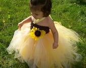 Sunflower TuTu Dress and Clip for Birthday Girl or Flower Girl NB-4T