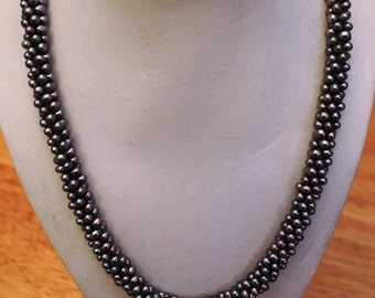 Silvery grey crocheted swarovski pearl necklace with sterling silver squeeze clasp