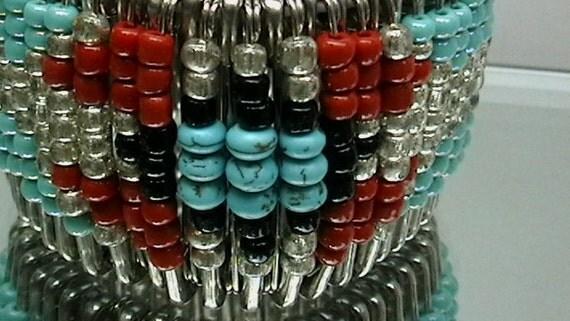 Custom Tribal Reversable Cuff Beaded Safety Pin Bracelet