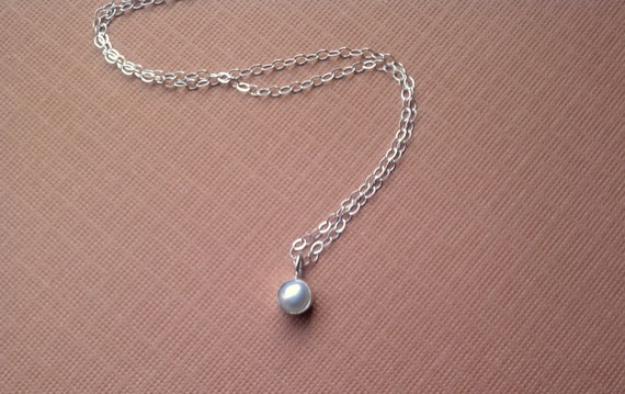 Tiny Pearl Pendant Necklace