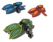 Macrame dragonfly hair clip - choose your colours