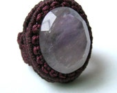 Macrame ring with natural stone - pick your stone and colours