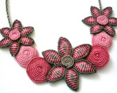Macrame pink and brown necklace with flowers and spirals - made to order