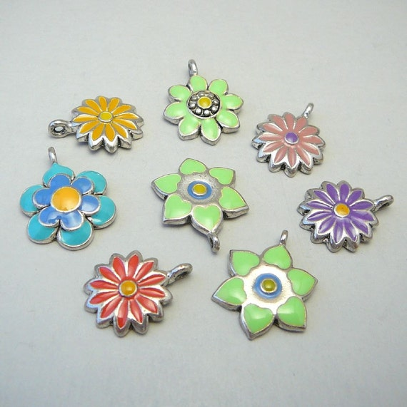 Enamel Flower Charms