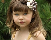 Gorgeous Vintage Giraffe Triple Rosette Headband with Pearl and Lace Accent by London Blue Designs