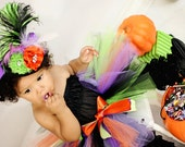 Adorable and Cute Little Friendly Over The Top Mini Witch Hat and Tutu by London Blue Designs