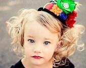Whimsical Rainbow Brite Mini Top Hat Fascinator by London Blue Designs
