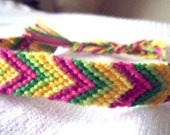 """Friendship Bracelet Chevron """"Citrus Salad"""" MADE TO ORDER Summer Collection 2012 - yellow, pink, green boho chic string colorful"""
