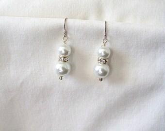 White Pearl Earrings and Crystal Drop Earrings in Sterling Silver