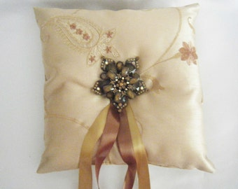 Silk Ring Bearer Pillow, Champagne Gold Embroidered Wedding Pillow