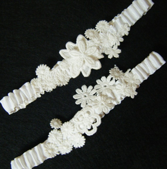 White Vintage Lace Band Style Wedding Garter Bridal Garter Set OOAK