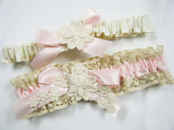 Victorian Lace Wedding Garter Set, Ivory Tea Stained Vintage Cluny Lace, Pink Satin and Venise Lace