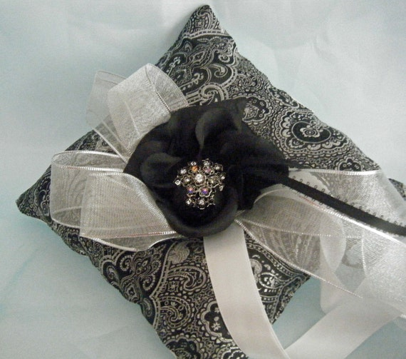 Ring Bearer Pillow  Luxe Black and Silver Brocade