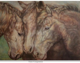Horse, Prints, Lithograph-Three Companions- Horses- by  Artist Carol Ball- Lithograph on paper Signed by the artist.