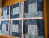 Denim Patchwork Padded Pet Lap Cover with White on Pink Polka Dot ribbon and hearts and bones backing