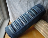 Denim Pleated Bolster Pillow upcycled from blue jeans