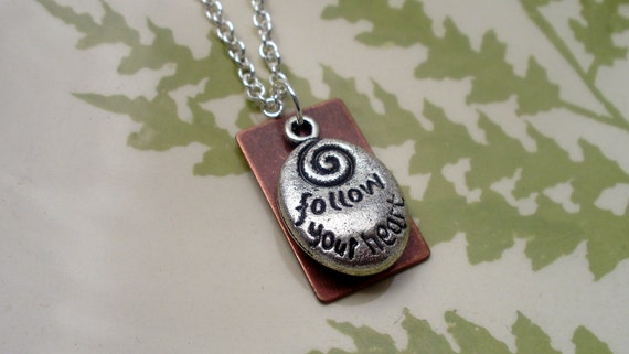 Follow your heart.  Silver and Copper Necklace.