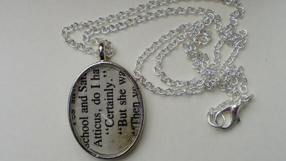 "SALE. To Kill a Mockingbird Necklace.  ""Atticus, Certainly."" Vintage Bookpage and Mockingbird. OOAK"