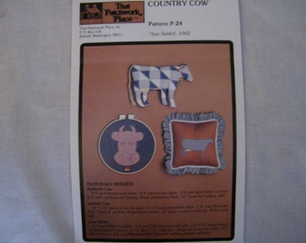 VTG Sewing Pattern for Cow Applique Decorating Pillows or Quilt Blocks