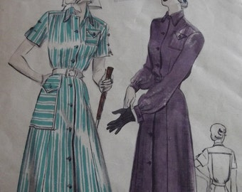 Vintage Dress Pattern, 40s Dress, Shirtwaist Dress with Gored Skirt Flap Pockets Short Sleeves Long Sleeves, Size 14 Bust 32, Butterick 5081