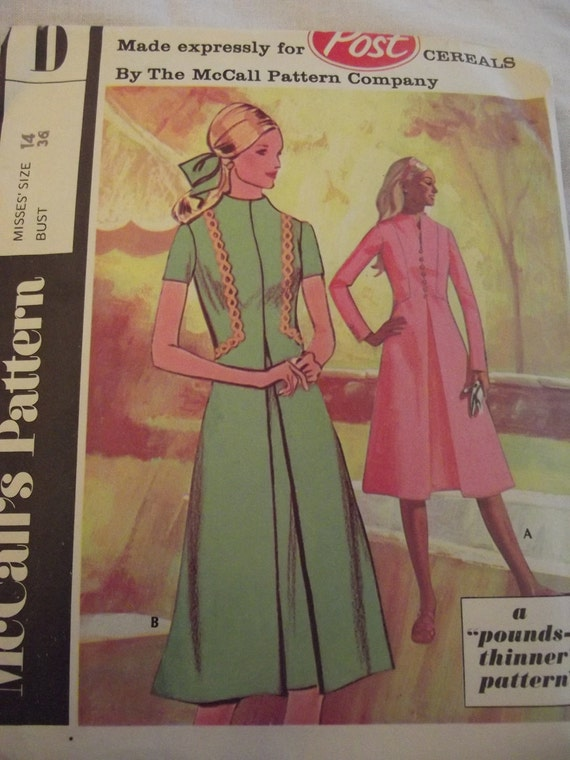 Vintage Dress Pattern 60s 70s Dress with Raised Neckline A Line Skirt Inverted Pleat Sz 14 Bust 36 McCall's D for Post Cereals Mad Men Mod