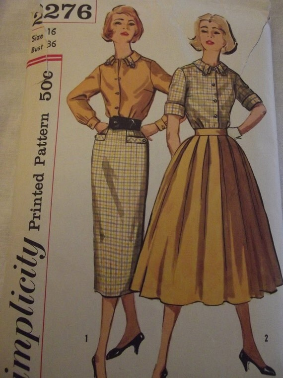 Sewing Pattern 50s Vintage Skirts and Blouses with Full Pleated Skirt or Slim Skirt Sz 16 Bust 36 Simplicity 2276