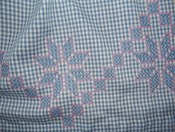 Vintage Apron Blue Gingham Check  with Cross Stitch Embroidered Stars. Collectible Cotton Half Apron Mid Century Retro