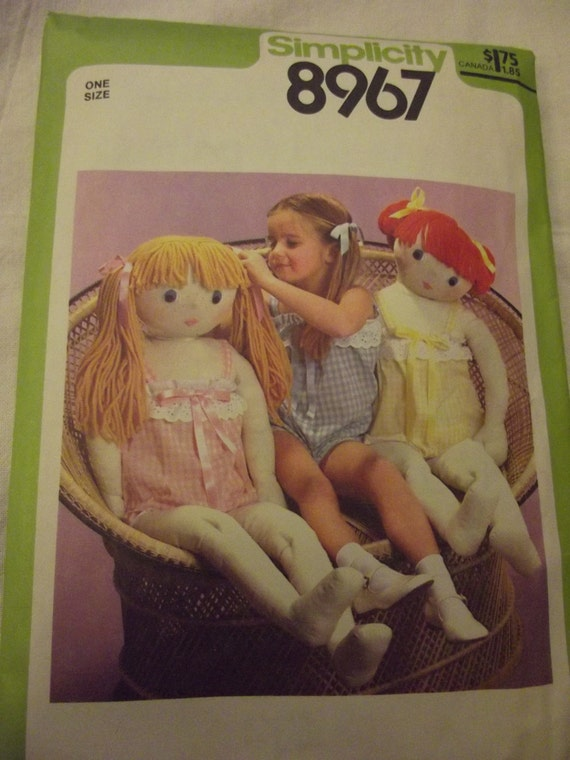 "Vintage Doll Sewing Pattern 41"" Tall Life-Size  Doll and  Camisole. Simplicity 8967 Toys"