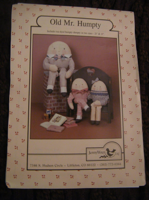 Vintage Sewing Pattern Humpty Dumpty Dolls Nursery Rhymes