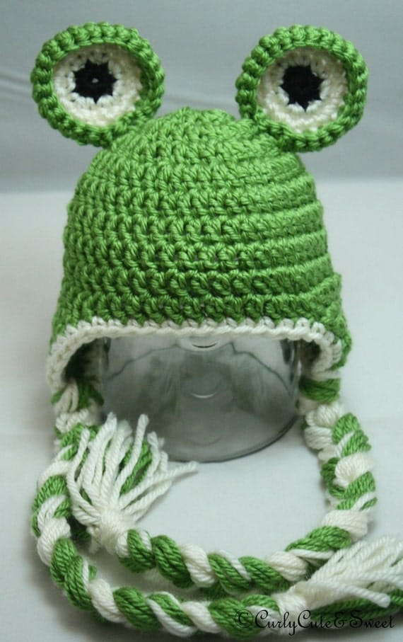 Knitting Pattern For Frog Hat : Items similar to Frog Earflap Crochet Hat- Photo prop on Etsy
