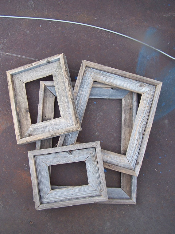 Lot of 4 Deluxe Barnwood Picture Frames. 1 Each 4x6, 5x7, 8x10 & 11x14. Rustic....Weathered.