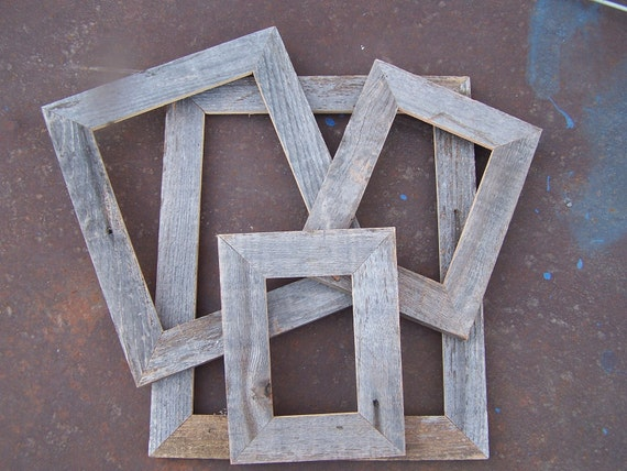 Lot of 8 Flat Barnwood Picture Frames. 2 Each 4x6, 5x7, 8x10 & 11x14. Rustic....Weathered.