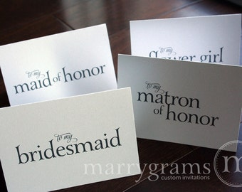 To My Bridesmaid, Maid of Honor, Wedding party... Wedding Thank You Cards, Groomsman, Best Man, Wedding Note Card (Set of 8) CS08