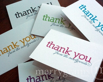 Wedding Note Cards - Thank You from the Newlyweds - Colorful, Bold Wedding or Bridal Shower Thank You Notes (Set of 10)