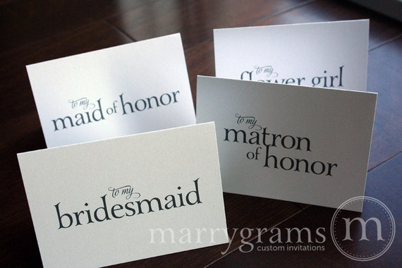 To My Bridesmaid, Maid of Honor, Flower Girl Wedding Party- Wedding Thank You Cards, Groomsman, Best Man, Usher, Wedding Note Card Set CS08