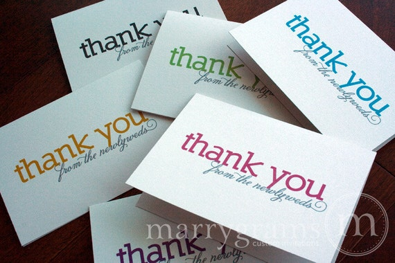 Wedding Thank You Cards from the Newlyweds - Colorful, Bold Wedding or Bridal Shower Thank You Note Cards (Set of 50)