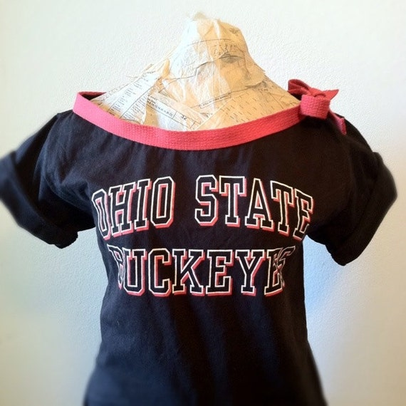 S A L E-Reconstructed Ohio State Buckeyes, Off the shoulder tshirt (women, teen girls) FREE SHIPPING