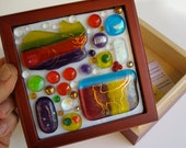 Kitty cat mosaic in fused glass, jewelry box with dichroic glass, hand painted details.  So cute