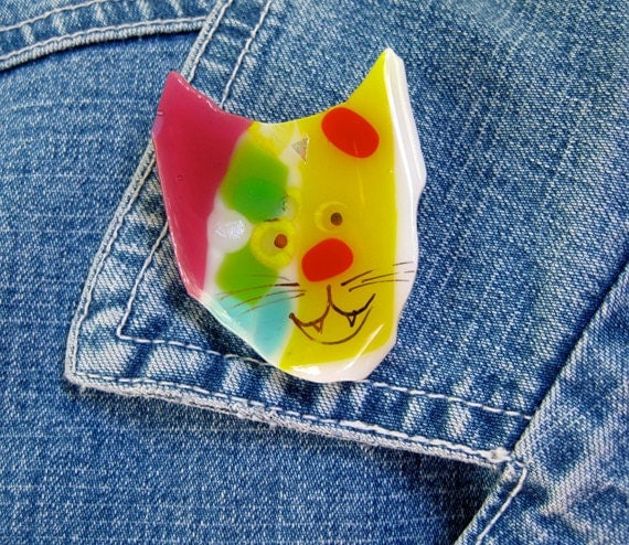 Fused glass brooch, Whimsical cat hand painted dichroic glass pin, fused glass jewelry