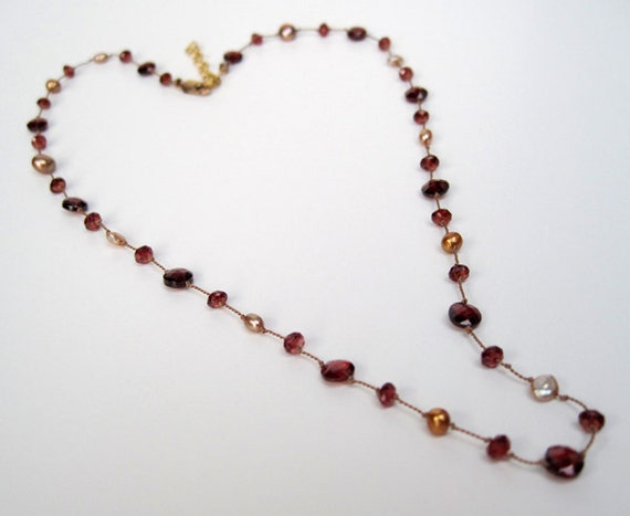 Garnet necklace, deep burgundy red with gold pearls, gold filled chain, delicate, elegant, comfortable