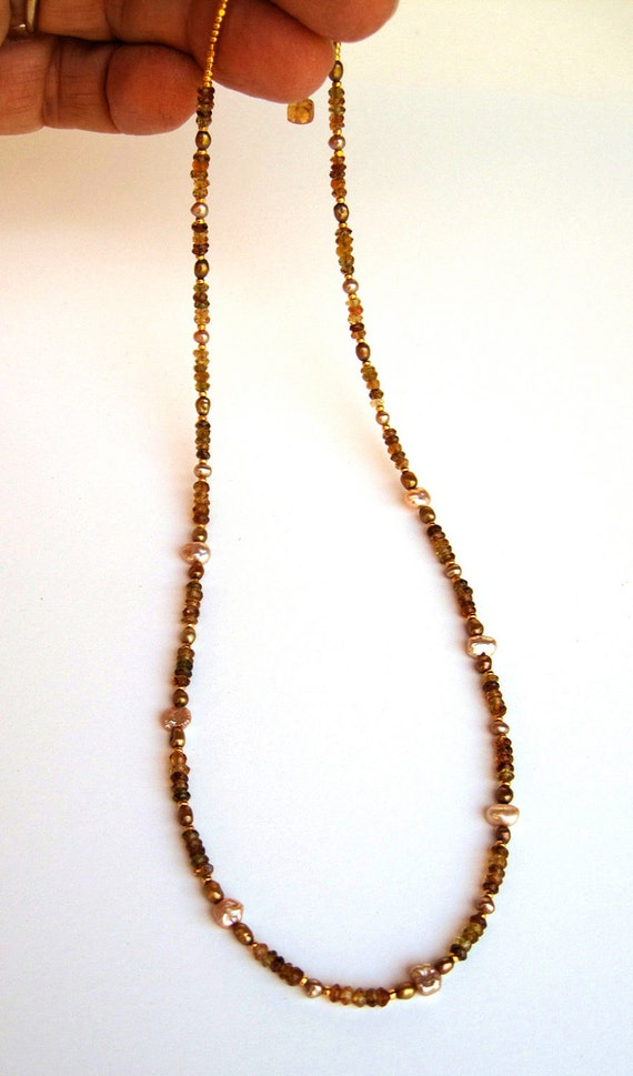 Gold green tourmaline & pearl necklace 14kt gold filled Charlotte necklace