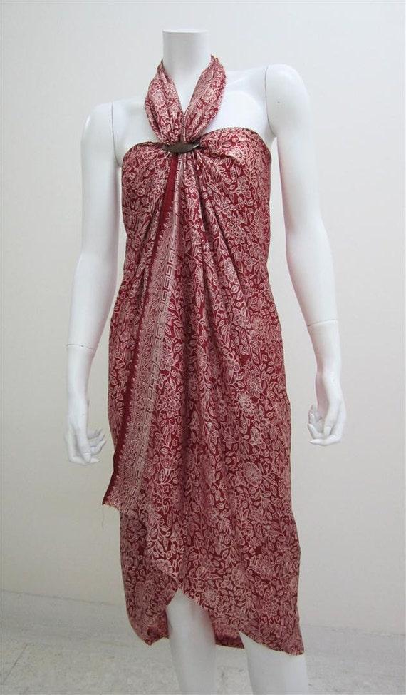 Silk Batik Sarong - Pretty Flowers on Bright Red