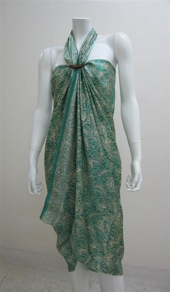 Silk Batik Sarong - Summertime in Bright Green