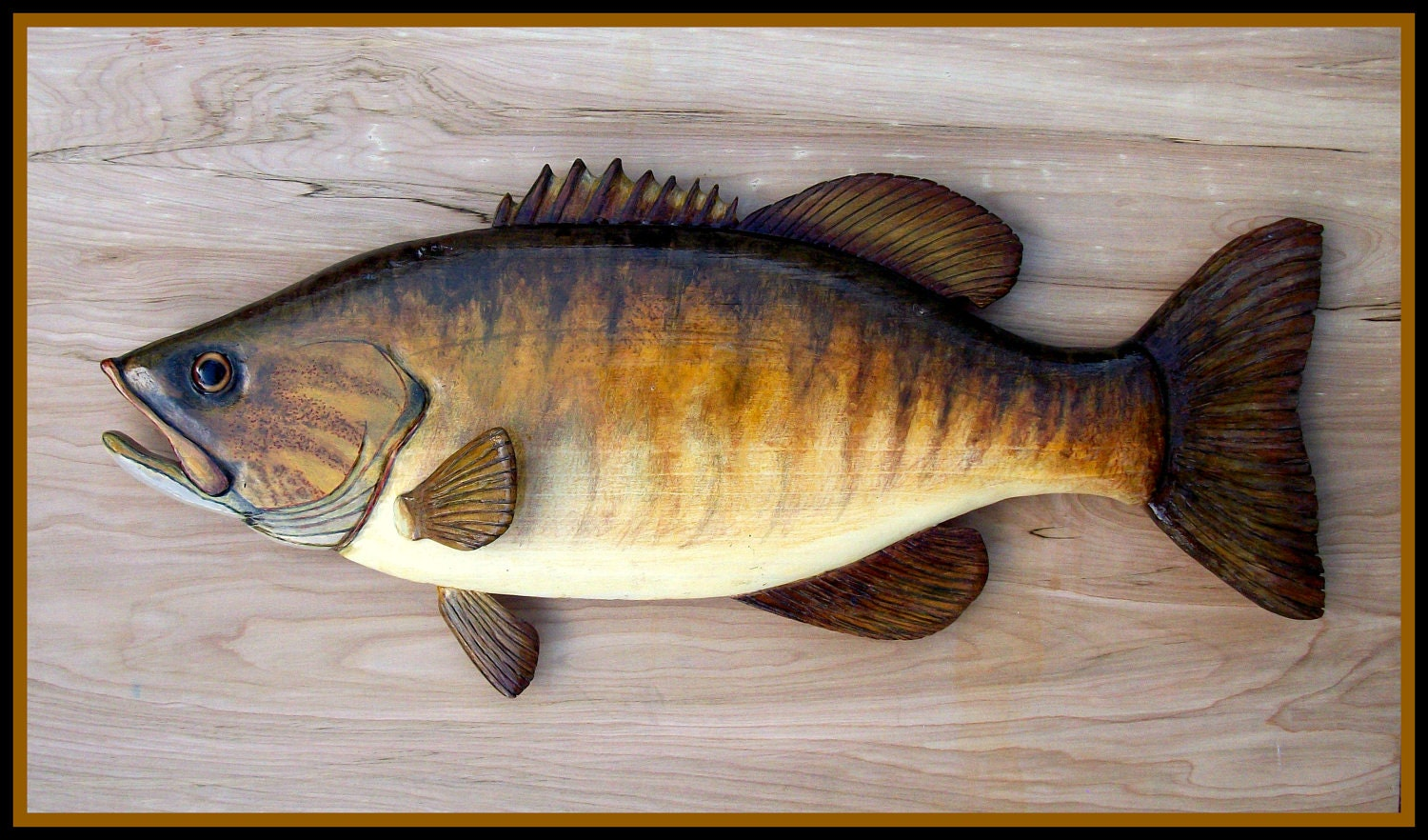 Smallmouth bass wood carving folk art fish wall mount