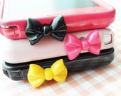 Pretty bow earphone plug - black, red, pink, hot pink, yellow (pick your color)