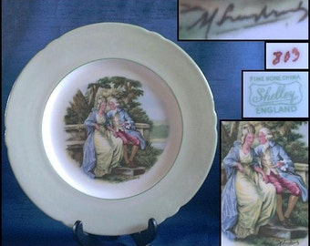 Shelley Collectible Plate Victorian Courting Couple