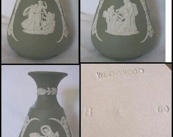 1960'S WEDGWOOD Green Jasperware Bud Vase