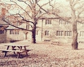 lonesome picnic tables : autumn fine art photography 5x7 print