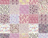 """36 Liberty print pink and purple charm squares, 5"""" patchwork squares in pink, purple and lilac"""